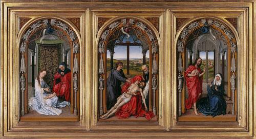 Rogier van der Weyden, Tríptico de Miraflores,antes de 1445,óleo sobre tabla de roble, cada tabla superficie pintada 71x42cm. Berlin.Donado por Juan II de Castilla a la cartuja de Miraflores hasta 1783,encontrado en Burgos por Napoleón,1835 pasa a Londres