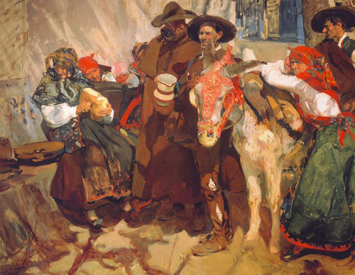 Sorolla,aldeanos leoneses 1907. El interés de Sorolla por la identidad de las gentes españolas, un toque asombroso a la luz y sombras de árboles,momento de la realidad captado espontáneamente.