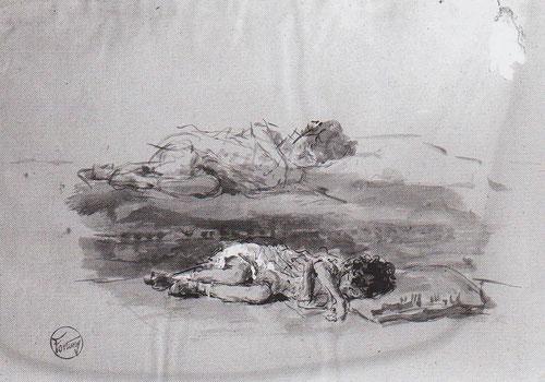 Los dibujos preparatorios de la obra muestran a su hija recostada en diferentes posturas en pincel y aguada sobre papel.Conservada en el Museo Fortuny.