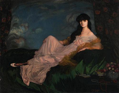 Zuloaga. Retrato de la condesa Mathieu de Noailles.152x195cm.Museo de Bellas Artes.Bilbao. La condesa recostada sobre un diván,mantiene la mirada fija en el espectador,con sus atributos más significativos,libros,collar de perlas,rosas de té,flor favorita.