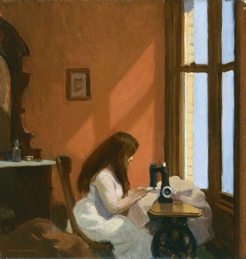Hopper, Muchacha cosiendo a máquina, 1921-22, óleo sobre lienzo, 48x46cm.Museo Thyssen. El autor ya con estilo consolidado nos muestra un interior doméstico y el trabajo concentrado con reminiscencias a escuela holandesa.