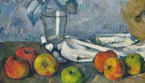 Cézanne,Verre et pommes,1879-1882.Pintor postimpresionista,descubrió a Caravaggio y Velázquez.En Auvers conoce a Pisarro,en L´Estaque recibe a Renoir.Naturaleza muerta con tensión dinámica entre las figuras geométricas,pequeñas pinceladas,planos de color