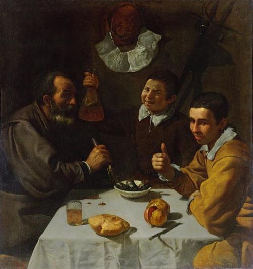Diego Velázquez, El almuerzo,1617. En el que se encuentran sentados a la mesa tres personajes, un anciano probable hidalgo pobre, un joven y un muchacho. Pinta varias escenas de almuerzos y repite personajes, el anciano el mismo en todos.