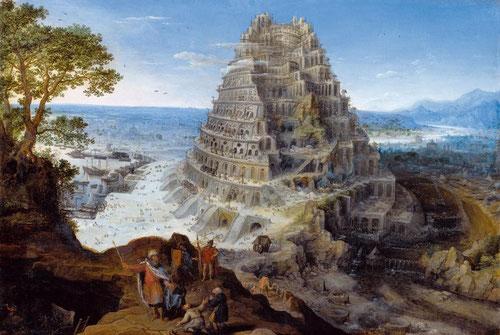 Lucas van Valckenborch.43cmx64cm. Óleo sobre tabla. La torre de Babel. Coblenza, Mittelrheim-Museum. La Torre de Babel es una construcción legendaria mencionada en la Sagrada Biblia, en el cap II del Génesis, en el primer libro de Moisés.