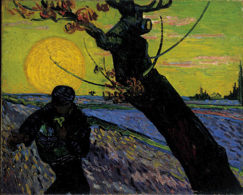 El sembrador. Vincent Van Gogh. 1888. Al modo de las estampas japonesas divide el lienzo en diagonal con un tronco de arbol retorcido, mientras el sembrador esparce la semilla bajo la presencia soberana del sol con un movimiento de trazo rítmico.