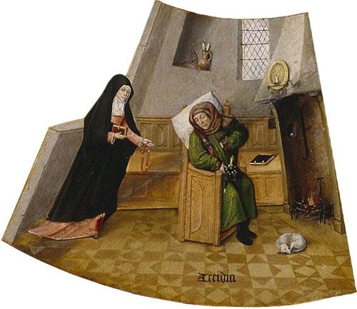Detalle de LA PEREZA o ACEDÍA de un eclesiástico o laico que duerme plácido y aburguesado ante la chimenea, mientras la mujer, representa la fe, le despierta de su letargo para que practique la oración.