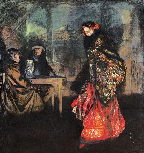 Ignacio Zuloaga.Lucienne Breval 1908. Poderoso lienzo de la cantante de ópera con vestido anaranjado y mantón de Manila quien mira al público y subraya la representación teatral.