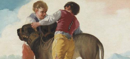 Detalle de niños con perros de presa, 1786. Museo del Prado.La elección de niños tenían una ventaja práctica: por sus reducidos tamaños, se adaptaban a las sobreventanas.