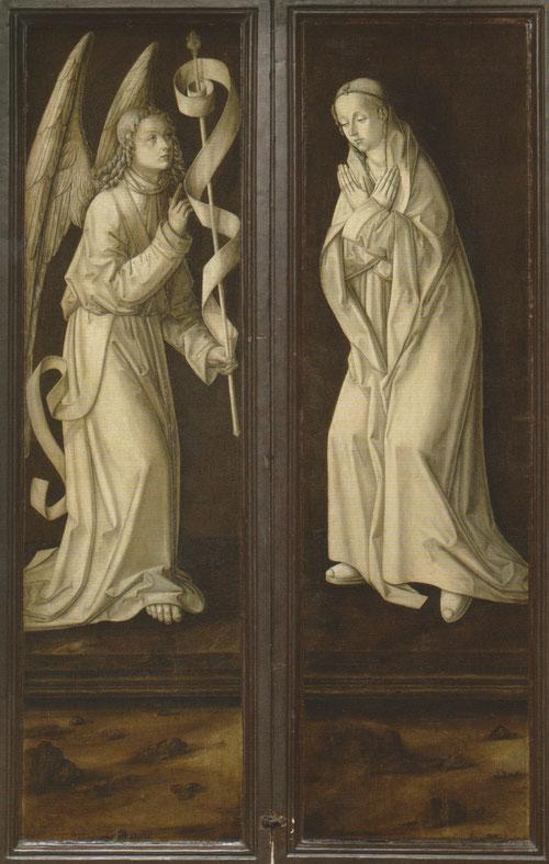 Tríptico cerrado. Escena de la Anunciación.Bermejo hace gala de su virtuosismo pictórico en estas grisallas de inspiración flamenca.