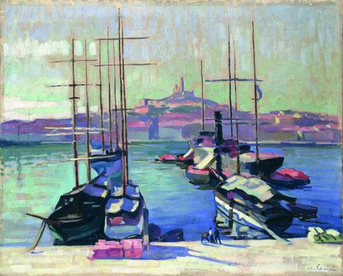 Charles Camoin.Puerto de Marsella, Notre Dame de la Garde 1904.Colección particular.La simplificación de formas y moderación cromática,gracias a su influencia de Cézanne le valió para acercarse de forma intuitiva a los postulados del fauvismo.