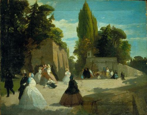 A. Puccinelli, el paseo del Muro Torto.1852.óleo sobre lienzo.Fuertes claroscuros creados mediante mancahas pero sintetizados, paisaje captado al natural creando planos sucesivos.
