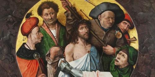 Cristo camino del Calvario,1500,dirige la mirada al espectador, interpelándole, mientras Simon de Cirene le ayuda,un soldado de rostro caricaturesco con la luna creciente de los turcos infieles en su esclavina le delata.