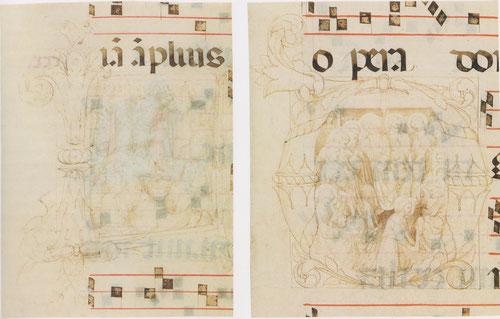 """Lorenzo de Monaco posiblemente con Fra AngelicoA-Milagro de los panes y peces(Jn6,3-13)""""Alégrate Oh Jerusalem y congregaos todos los que amáis.""""B-Cristo lava los pies a los apóstoles.Tinta sobre pergamino.Recortes de libro de coro Florencia."""