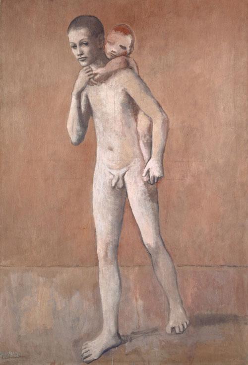 """Los dos hermanos,Picasso, verano 1906.Óleo sobre lienzo 141x97cm.Firmado a la izquierda ,Kunstmuseum Basel. Periodo fecundo llamado """"ibérico"""",desarrollo del clasicismo mediterráneo, estudios de fig. y desnudos,naturalezas muertas."""