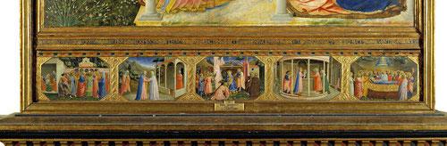 La predela narra escenas de la vida de la Virgen.1-Matrimonio con Jesé.2-La Visitación a su prima Isabel.3-Nacimiento de Jesús.4-Prentación templo.5-Dormición.