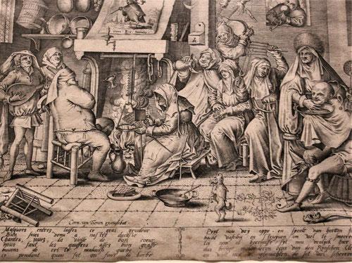 Jheronimos van Aken, el Bosco y Cornelis van Tienen.1650.Martes de Carnaval,cocina holandesa con preparación de obleas.Aguafuerte y grabado,tinta sobre papel.El gremio de pintores de Amberes proporciona al observador actual cómo interactuaban en los temas
