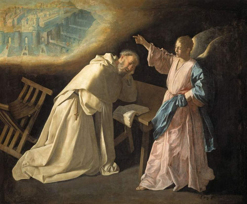 La visión de S Pedro Nolasco,1628-30.M.del Prado.La visión de Jerusalén celeste en su gloria,mientras el santo duerme en su celda monacalante un joven ángel.Una luz dorada emana de esta visión,comp.diagonal,suave cromatismo,paz y sosiego.