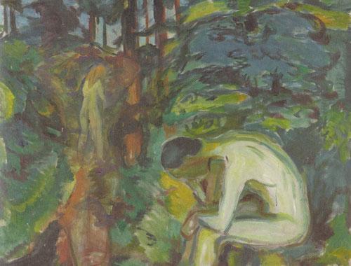 Tras la caída 1924-25. El contenido narrativo de las escenas se interpreta como metáfora bíblica de Adan y Eva trasladados del Pariso a un bosque.