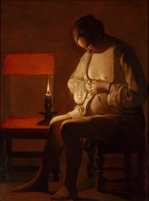 Mujer espulgándose.Óleo sobre lienzo.121x89cm,Nanacy,Collection Palais del Ducs de Lorraine. Interior sombrío a la luz de la vela parece una joven madre recogida por la Institución de caridad Notre Damme de Refuge en Nancy.