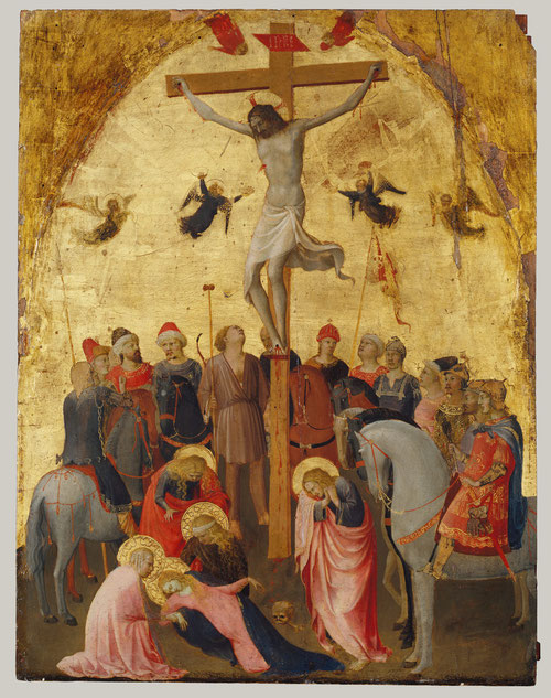 La Crucifixión del Metropolitan Museum de Nueva York 1418.Soldados romanos a caballo rodean a Cristo,la sangre mana del costado de Cristo y la Virgen es atendida por las mujeres. Encargada por un fraile de Sta Maria Novella. Madera policromada