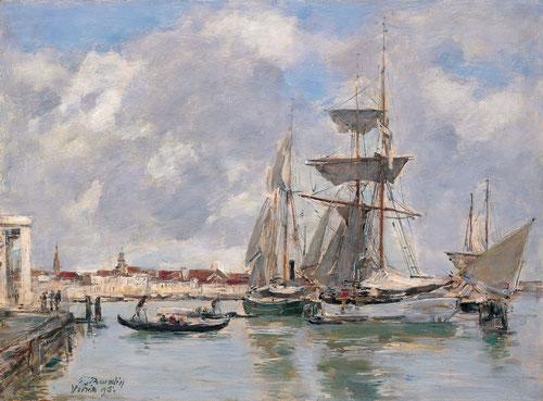 Eugène Boudin.Venecia, El Gran Canal 1895.Òleo sobre tabla 26x35cm.Colección Carmen Thyssen.