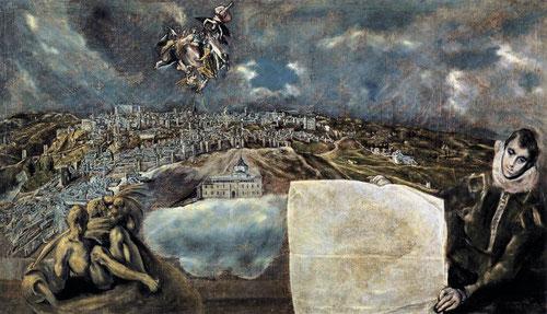 El Greco, Vista y plano de Toledo.1608.Óleo sobre lienzo 132x228cm.Museo del Greco en Toledo...A vista de pájaro...