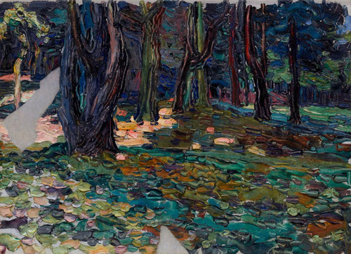 Parque de Saint Cloud.Óleo sobre cartón adherido a cartón.23x33cm.Legado Nina Kandinsky.Utiliza las líneas como contornos de la naturaleza basándose en métodos esquemáticos que había utilizado en xilografias.