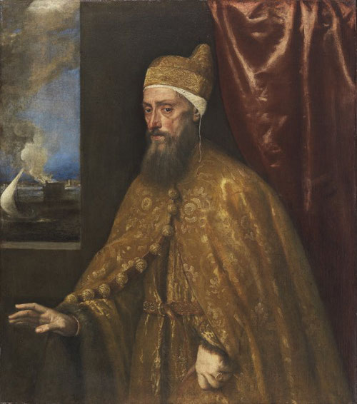 Tiziano.Retrato del Dux Francesco Venier, 1554-56.Óleo sobre lienzo.113x99cm. Museo Thysen.Asistimos a un proceso sistemático de la disolución de la pintura,aumenta volúmenes y reduce espacios,lo que de hecho produce un acercamiento visual con el espectad