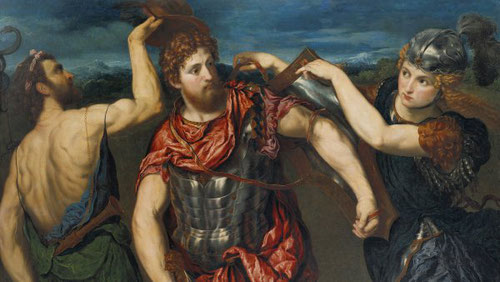 Paris Bordone.Perseo armado por Mercurio y Minerva.1545.Óleo sobre lienzo.Museo de Arte de Birmingham. Todo un sistema de reglas sociales, con los atributos de la magnificiencia, articulado en héroes que rozan lo divino.