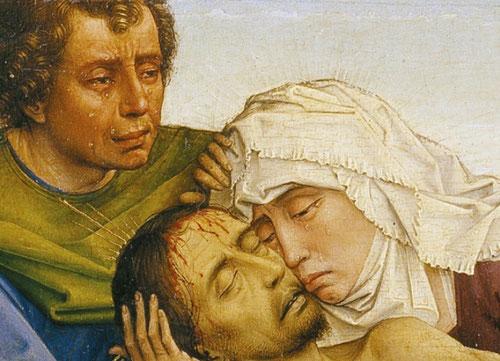 La expresión humanizada del drama sacro, con lágrimas que resbalan por sus mejillas, inducían al espectador a un sentimiento de emoción intimo, adecuada a la devoción moderna.