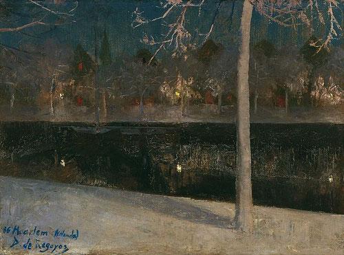 Darío de Regoyos.Paisaje nocturno nevado (Haarlem)1886.Colección Carmen Thyssen.