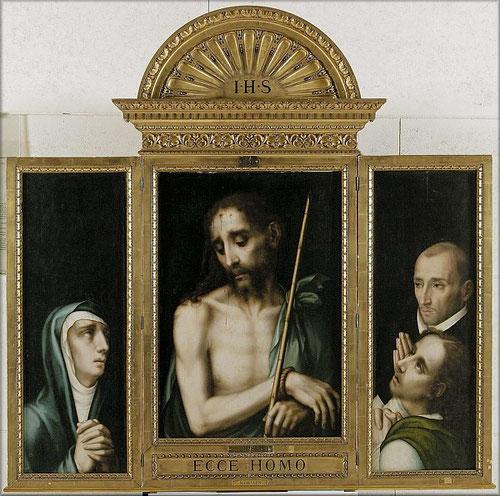 Tríptico del obispo Juan de Ribera,1566.Óleo sobre tabla de nogal.Museo de Cádiz.Varón de Dolores en tabla central, Virgen Dolorosa a la izquierda,a la dcha San Juan evangelista y el obispo Juan de Ribera.