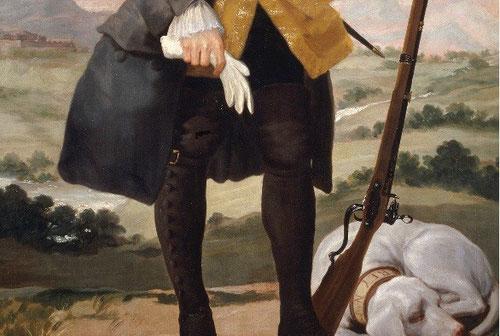 Detalle de Carlos III cazador.Goya,1787. Museo del Prado. Pintado poco antes de su muerte y dotado de humanidad y cercanía.