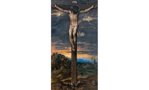 Tiziano. Cristo Crucificado 1565. Óleo sobre lienzo. Colecciones Reales de Patrimonio Nacional.Define al crucificado como una visión místics absolutamente ajena a lo terrenal y vinculada a la luz de la luna y los relámpagos.