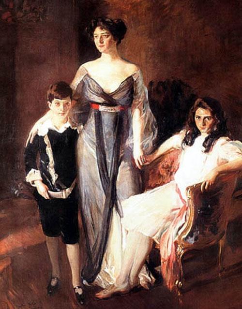 Mrs.Ira Nelson Morris y sus hijos.1911.Óleo sobre lienzo.221x169cm.The Hispanic Society of America,Nueva York.