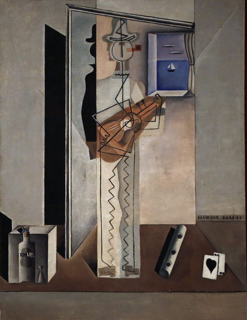 Dalí, Pierrot tocando la guitarra (Pintura cubista) 1925