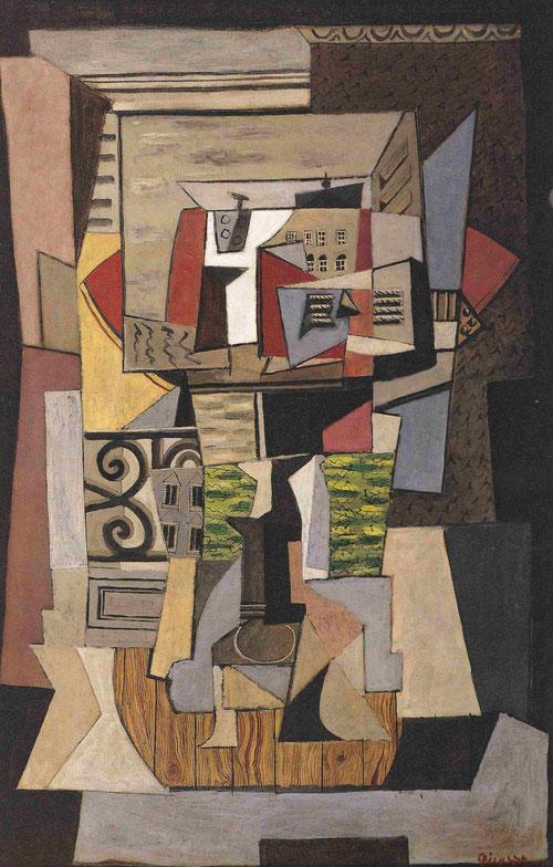 Ventana abierta sobre la Rue de Penthièvre,París 1920.Óleo sobre lienzo.154x110cm.Tehern Museum. En la mente del pintor tambien estaban  los interiores de Matisse..el hierro forjado,los azules,la enérgica luz,tarimas,collage,guitarra...