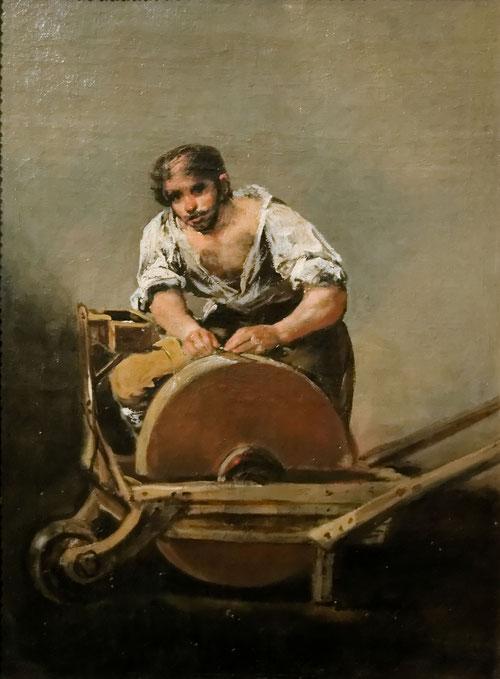 Francisco de Goya.El afilador 1808. De pequeño formato esta pintura de género popular en realidad son personajes alegóricos:hombres y mujeres que lucharon heroicamente contra la invasión de los franceses.El afilador de cuchillos es un ejemplo.