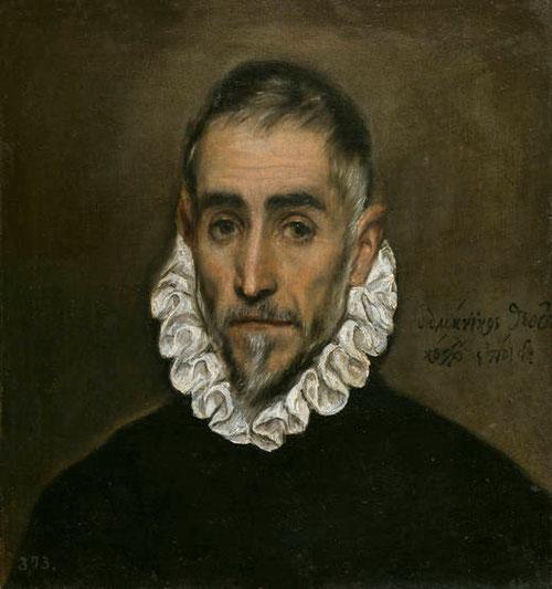 El Greco, Caballero anciano,1587.1600.Óleo sobre lienzo,46x23cm.Colección Real.