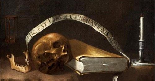 Vanitas de la estirpe mortal de Adan,Francisco Carrion,SXII.Naturaleza muerta cargada de honda significación moral y espiritual.Recuerda a toda la estirpe del género humano la fugacidad de la vida y el transcurrir inefable del tiempo.