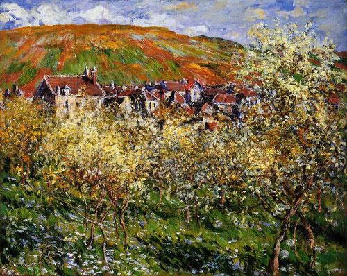 Claude Monet.Ciruels en flr en Vétheuil 1879.Monet pasó una profunda crisi profesional, cuidaba de sus hijos y su mujer padecía una enfermedad incurable. Pintó el jardín familiar pocas semanas antes de la muerte de su esposa.