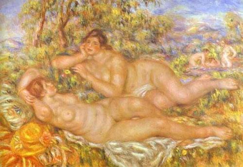 August e Renoir.Les Baigneuses.1918-19.110x160cm. Composición ambiciosa que recuerda a los grandes pintores venecianos del SXVI...Funde paisaje,naturaleza,luz y calidez.