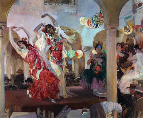 Baile en el Café Novedades de Sevilla, fue subastado en Nueva York y adquirido por Paul Getty por 1.900 dólares.En la actualidad `pertenece al Banco de Santander.