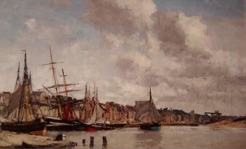 Eugène Boudin.La ensenada de Truville.Las orillas del rio Touques,1865.Óleo sobre lienzo 45x73cm.Colección privada.