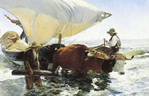 Joaquin Sorolla.La vuelta de la pesca.1894.Óleo sobre lienzo 47x62cm. Estudios preparatorios para cuadros de costumbres de gran formato son típicos del autor conforme al procedimiento académico.