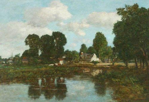 Eugène Boudin.Cerca de Quimper 1855.Óleo sobre tabla,42x60cm.Manchester Art Gallery.