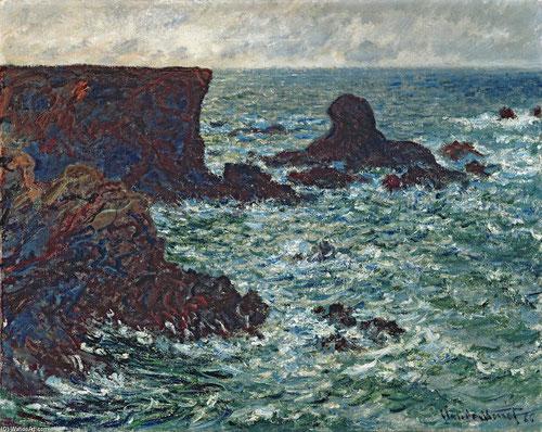 """Claude Monet. Roca del León,rocas de Belle-Îlle 1886.Óleo sobre lienzo 65x81cm.Des Moines Art Center.Algunos las llaman """"marinas neorománticas"""" por el protagonismo cedido a la costa salvaje,pincelada nerviosa,vibrante y expresiva."""