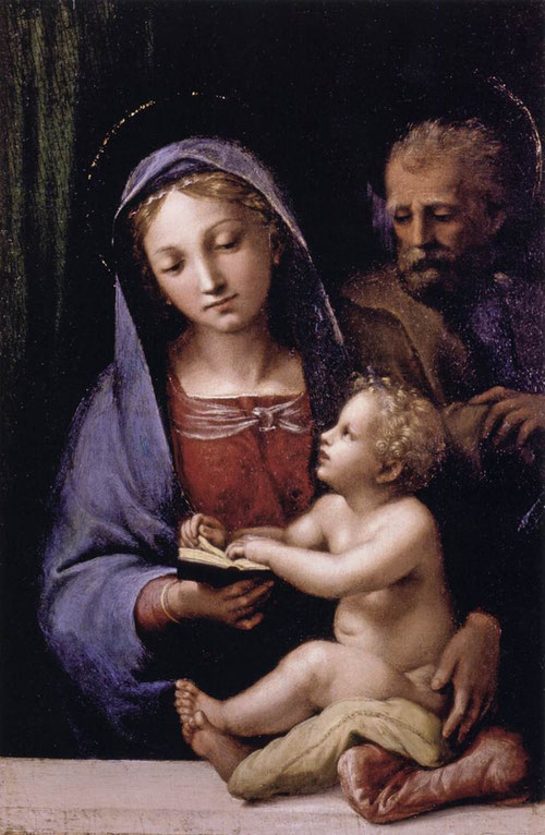 Sagrada Familia del libro. Gianfrancesco Penni, 1512-14. Galería palatina del Palacio Pitti.