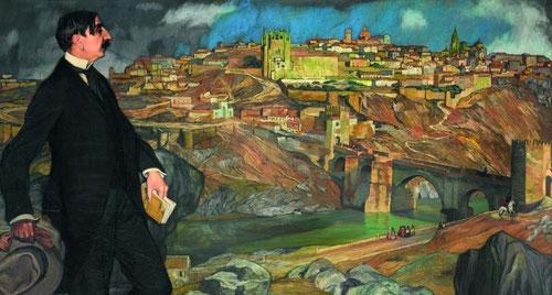 Situado de pie en un extremo del cuadro Maurice Barrés,1913, escritor francés parece haber interrumpido la lectura del libro Greco ou le secret de Tolède,divide la composición en dos aunando la tradición española-francesa.