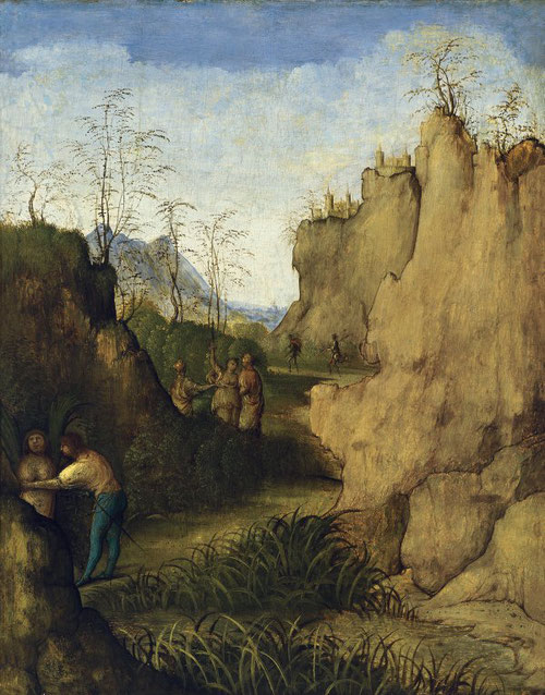 Giovanni Agostino da Lodi.Ladón y Siringa, 1510. Óleo sobre tabla,46x36cm. Colección Thyssen.